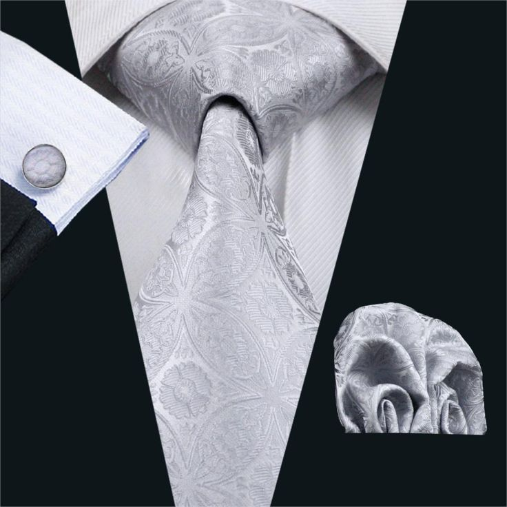 Necktie Gray Floral 100% Silk With Hanky Cufflinks Set //Price: $9.26 & FREE Shipping Over 180 countries //    #weddingties
