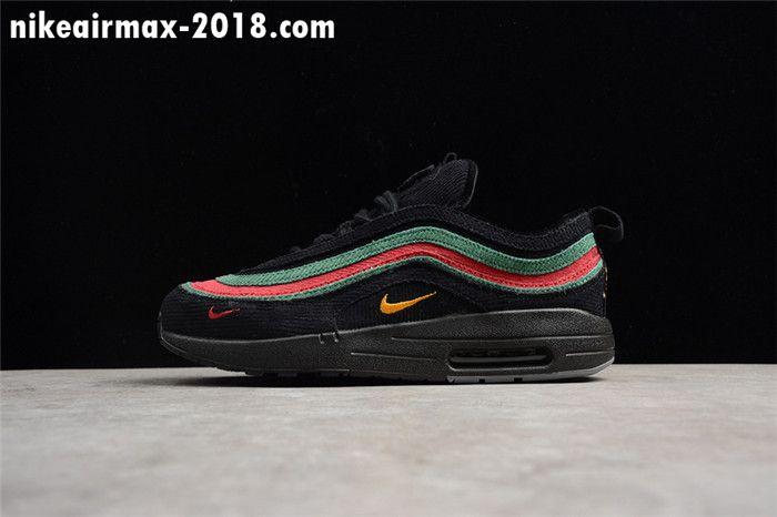75ef31b4c9 New Mens Sneakers Nike Air Max 97 VF SW Hybrid Black Green Red AJ4219-036