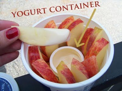 Snacks to go!  Yogurt containers inside sour cream containers to hold fruit (or other snacks) and their dips!