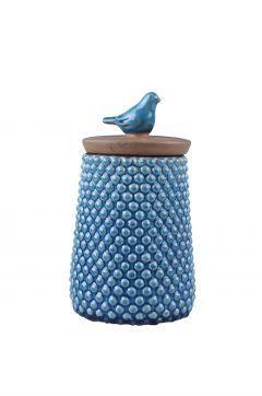 Dekorazon Kuş Kapaklı Mavi Kavanoz