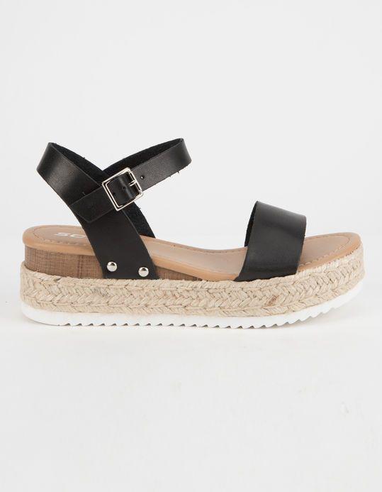 5d320b279ee0 SODA Clip Black Womens Espadrille Flatform Sandals