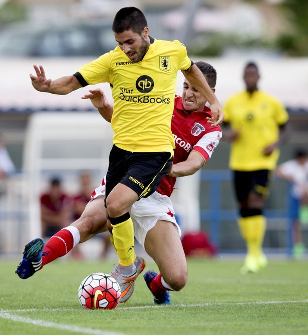 Carles Gil in action for Aston Villa during a friendly against Braga