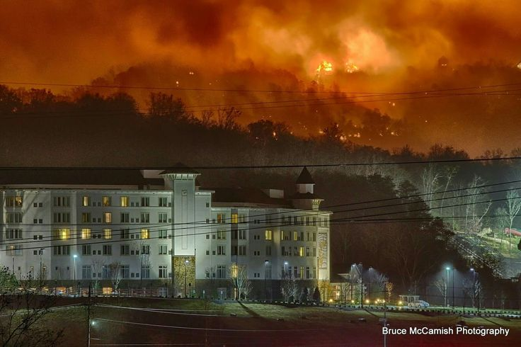 Smoky Mountain fires in Tennessee behind the Dollywood Dreamland Hotel.
