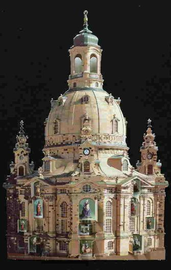 German Advent Calendar of Dresden's magnificently restored Frauenkirche, considered by many to be the most beautiful Protestant cathedral anywhere.