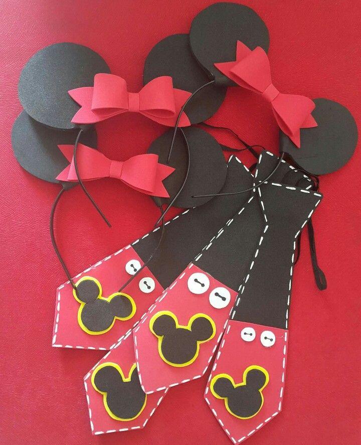 Diademas y corbatas minnie roja