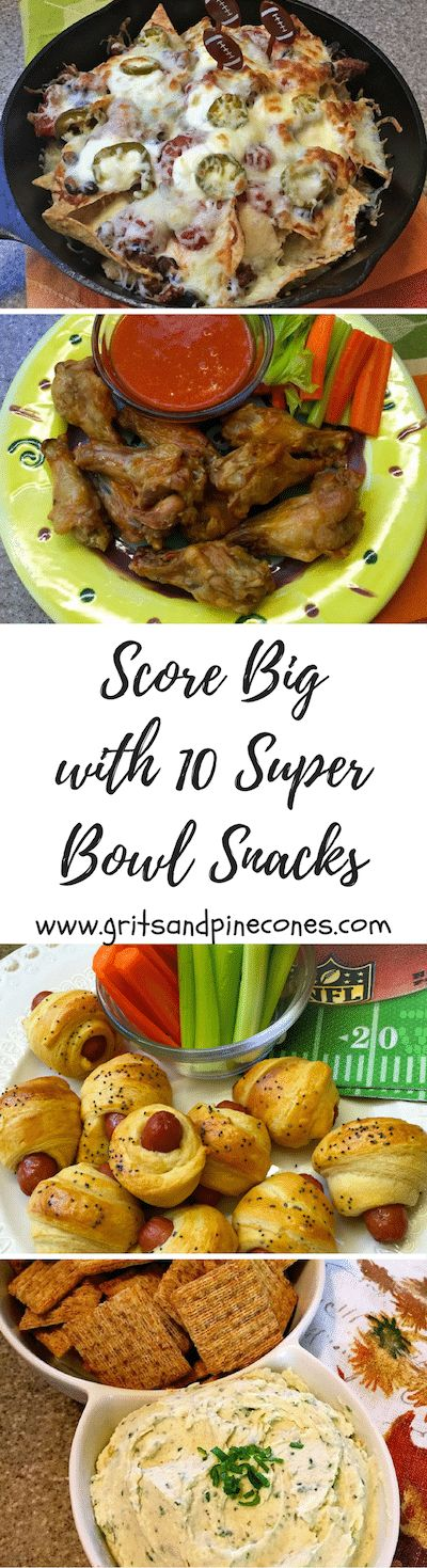 Whether you call them Super Bowl snacks or appetizers, these 10 awesome snacks will help you score big on game day with your family & friends! via @http://www.pinterest.com/gritspinecones/