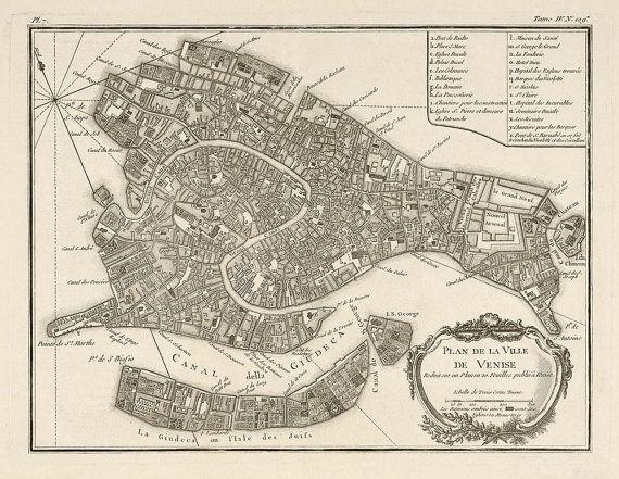 Antique carte de Venise 1764 par Jacques par BlueMonoclePrints