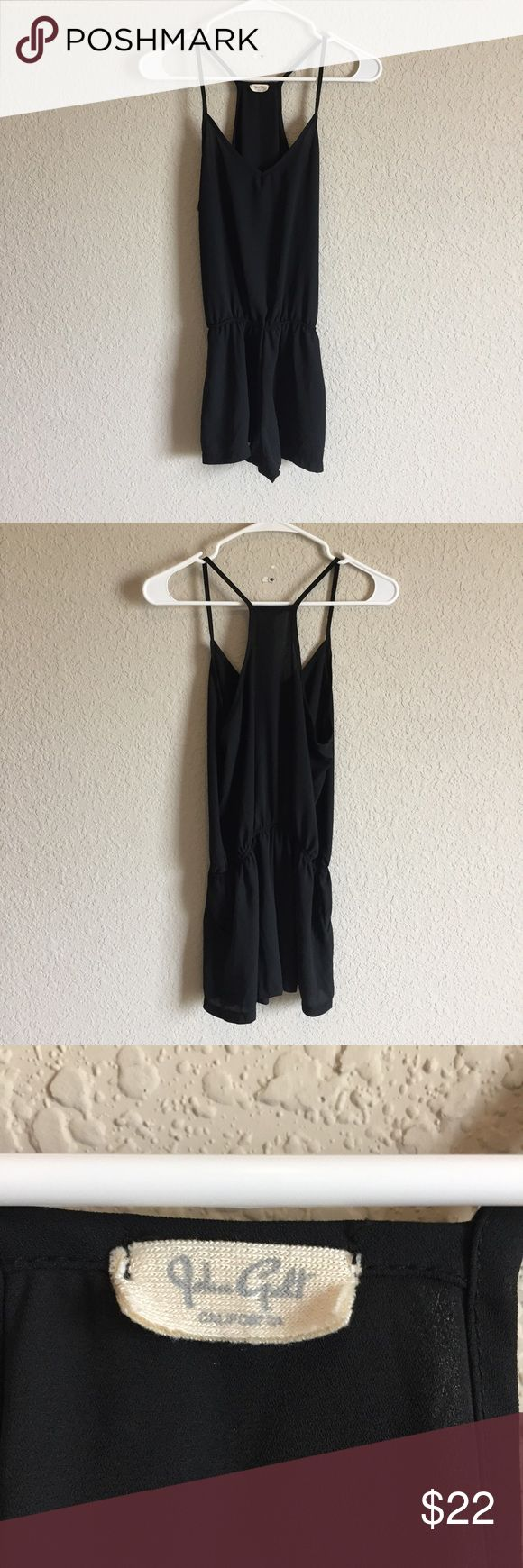 Brandy Melville Romper (61) Cute semi sheer black romper with pockets and elastic waistband. No flaws. Tagged as One Size. Bust- 16.5 inches Waist- 11.5 inches Length- 30 inches Brandy Melville Pants Jumpsuits & Rompers