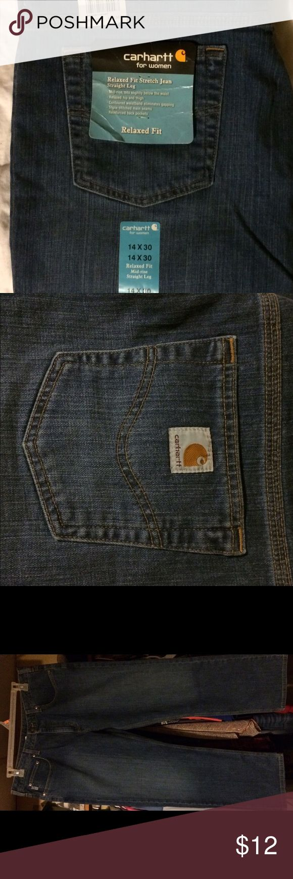 Carhart Jeans Size 14 NWT Carhart Jeans. Inseam is 30 inches. Good Jeans. Great relaxed Fit just to short for me. carhart Jeans Straight Leg
