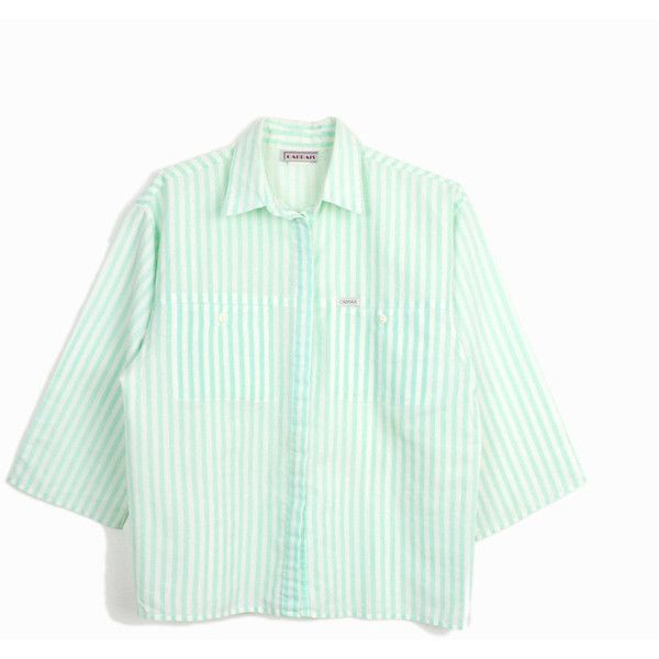 Vintage 80s Mint Green Striped Shirt Beach Stripes women's... ($29) ❤ liked on Polyvore featuring tops, stripe top, striped top, vintage 80s t shirts, green top and beach shirts