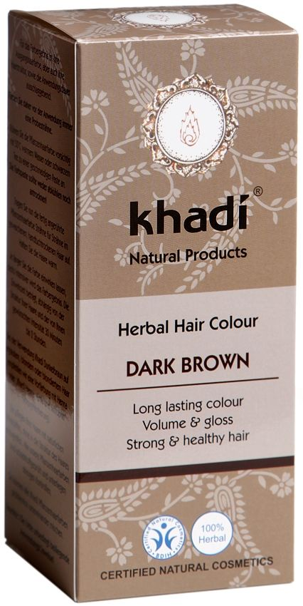 Khadi Herbal Hair Colour Dark Brown is a long lasting natural hair colour without peroxide or ammonia. Khadi Dark Brown natural hair colour, colours hair dark brown, or you can mix Khadi Amla, Henna, Indigo and Cassia to create your own unique hair colour. BDIH Certified. Vegan.