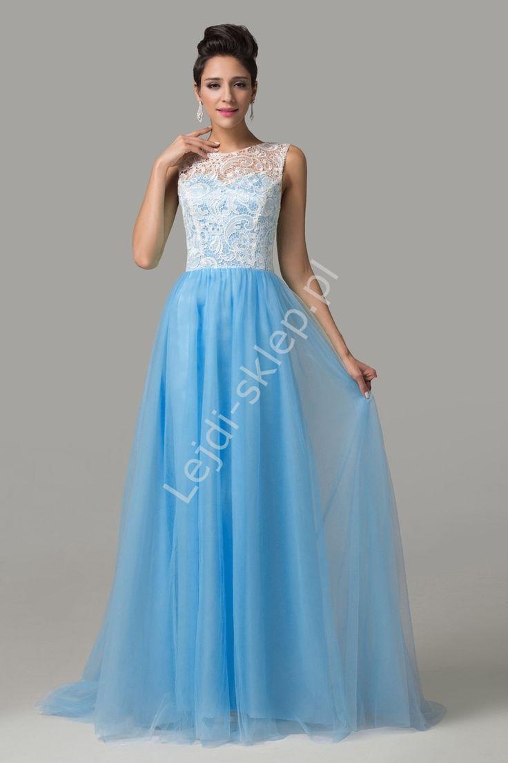 Sukienka na studniówkę, karnawał | błękitna sukienka z gipiurą