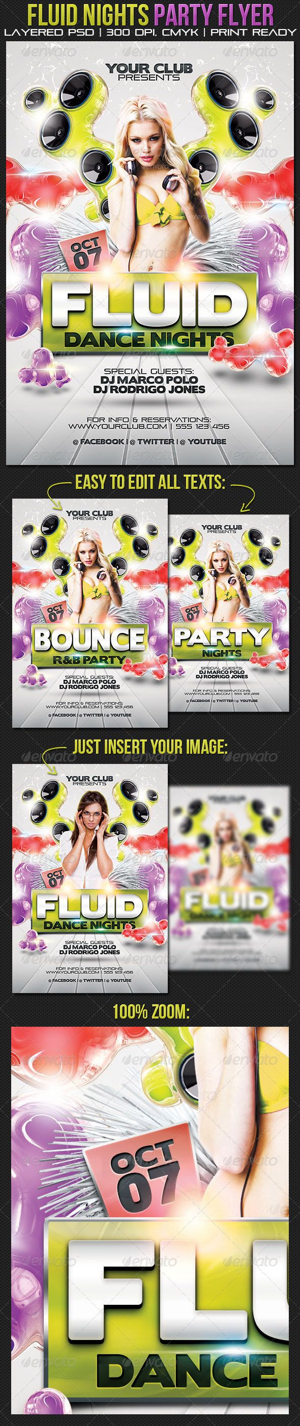 Fluid Nights Party Flyer - GraphicRiver Item for Sale