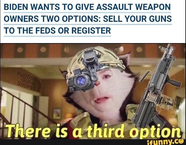 Biden Wants To Give Assault Weapon Owners Two Options Sell Your Guns To The Feds Or Register Ifunny In 2021 Told You So Memes Popular Memes