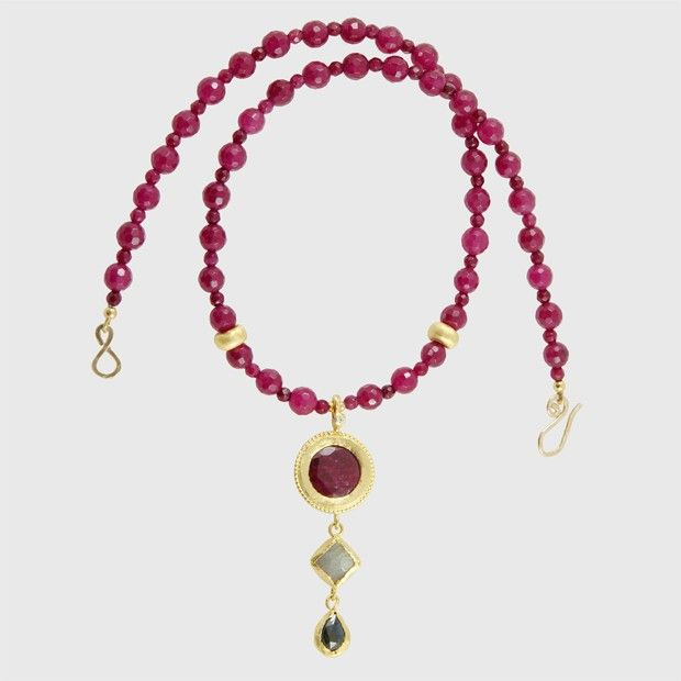 Ruby Jade, Labradorite, African Ruby and Sapphire Necklace with sterling silver links plated in 24k gold.