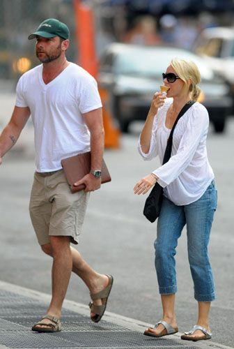 The couple that wears Birkenstocks together stay together.  Naomi Watts and Liev Schreiber