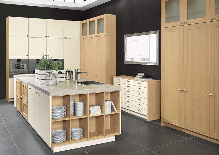 Proline matt lacquer magnolia with oak natural   snug kitchens ...