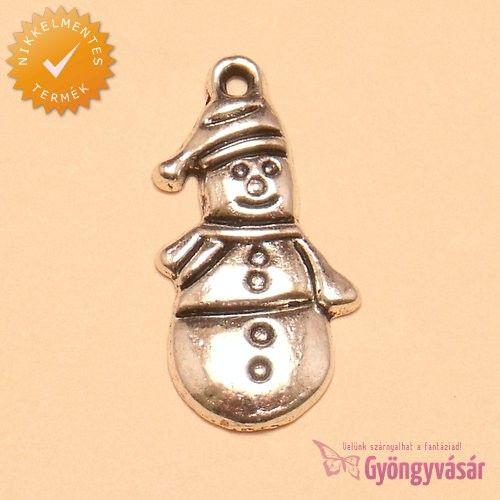 Ezüstszínű hóember - nikkelmentes fém zsuzsu / fityegő • Gyöngyvásár.hu