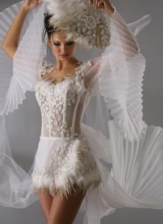 Полупрозрачное пляжное свадебное платье