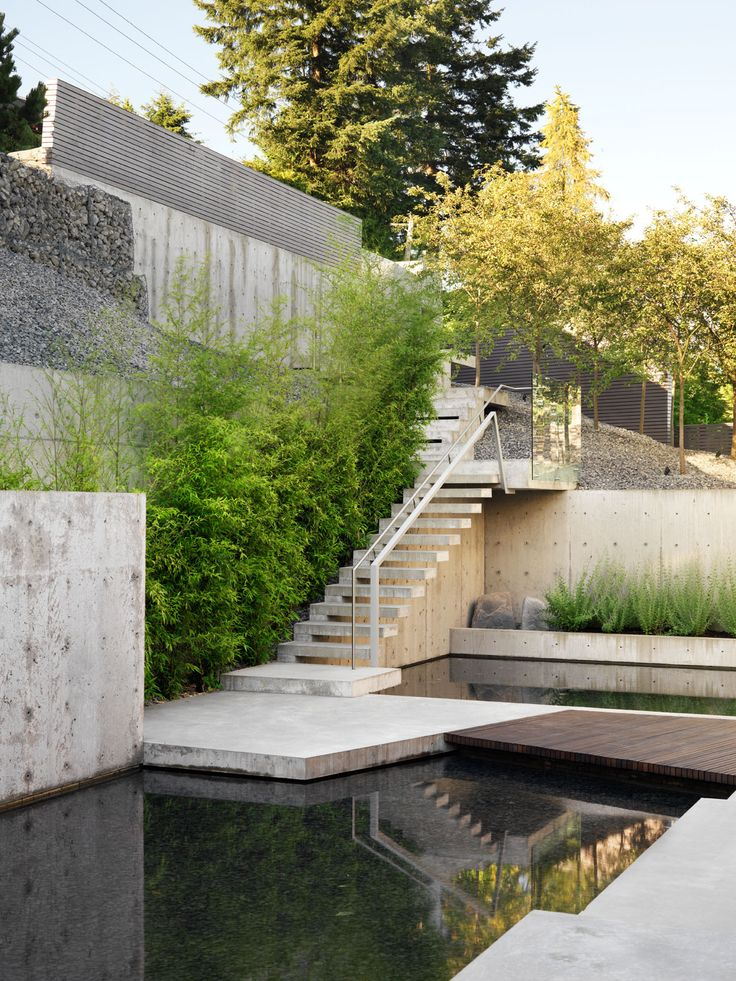 Cantilever Concrete Stairs, Residential Landscape Architecture | West  Vancouver