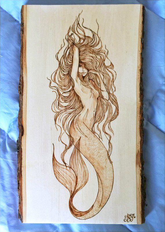 Mermaid plaque – Personalized Pyrography – Wood Burning Art – Natural Bark Border – 13″x7″