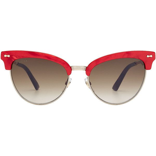 Gucci Sunglasses (£270) ❤ liked on Polyvore featuring accessories, eyewear, sunglasses, glasses, sunnies, multicolored, cat-eye glasses, multi colored sunglasses, red glasses and gucci eyewear