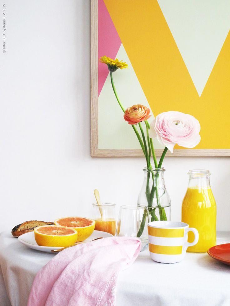 Med fler soltimmar för varje dag kommer ljuset och D-vitaminerna skuttande, och även inbitna kvällsmänniskor tycker att det känns helt rimligt att gå ur sängen på morgonen. En fint uppdukad frukost med vitamin C boost väcker oss garanterat!