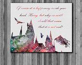 Poster de Harry Potter - Poudlard aquarelle, Art Print, téléchargement immédiat, papier aquarelle, affiche