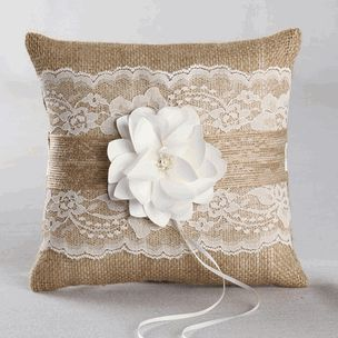 Rustic Garden Burlap #wedding Ring Pillow For mine, I could use teal and purple lace or ribbon. :)