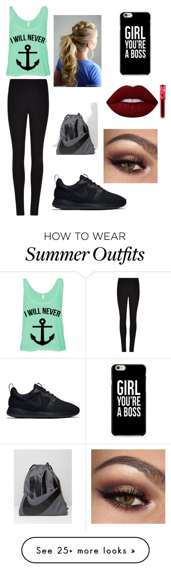 """Collection Of Summer Styles    """"Athletic day at school"""" by jordan-woody on Polyvore featuring Winser London, NIKE and Lime Crime    - #Outfits"""