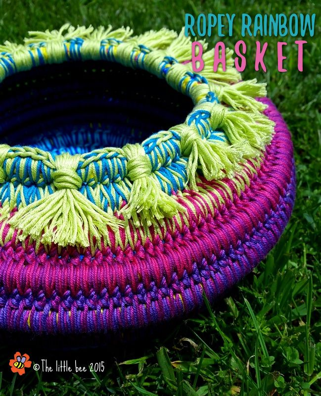 The Aladdin Basket version of the Ropey Rainbow Basket ~ a free crochet pattern from The little bee: http://www.ravelry.com/patterns/library/ropey-rainbow-basket