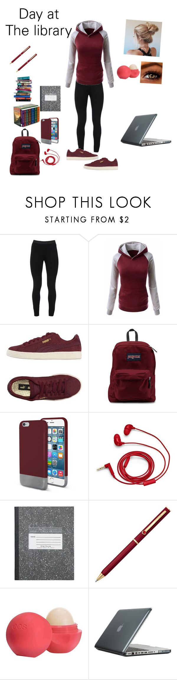 """""""Day At The Library"""" by shawnia-selinia-thomas ❤ liked on Polyvore featuring Peace of Cloth, Puma, Original Penguin, FOSSIL, S.T. Dupont, Eos, Speck and 7 For All Mankind"""