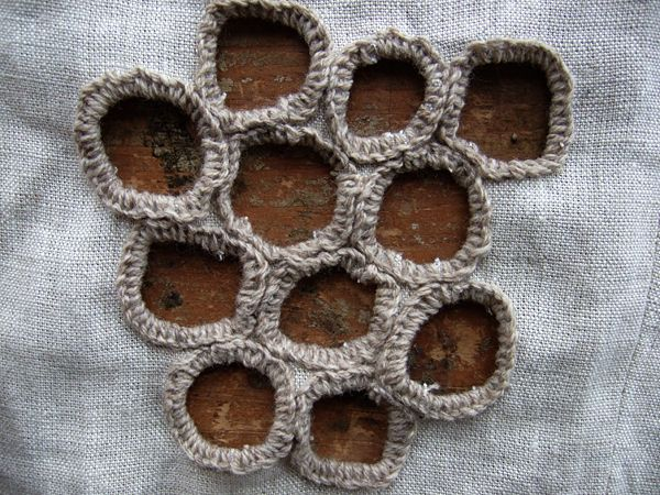 Embroidered eyelets for hole pattern & textures inspired by organic form; sewing; mending; textiles design // Annekata
