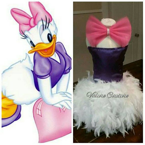 Fabric Purple Daisy Duck Inspired Tutu Feather by ValureCouture Disney Minnie Mickey Mouse Daisy Donald Costume Pageant Birthday Halloween Bow Purple White Pink Cinderella Elsa Anna Snow White Tiana Dance Christmas Gift Newborn Baby Infant Toddler Youth