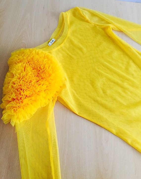 Yellow Blouse Sheer Blouse Evening Top by RALELE