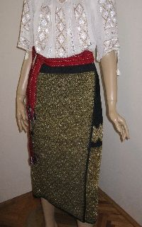 Antique Romanian costume skirt from Muscel /golden thread .  Available at www.greatblouses.com