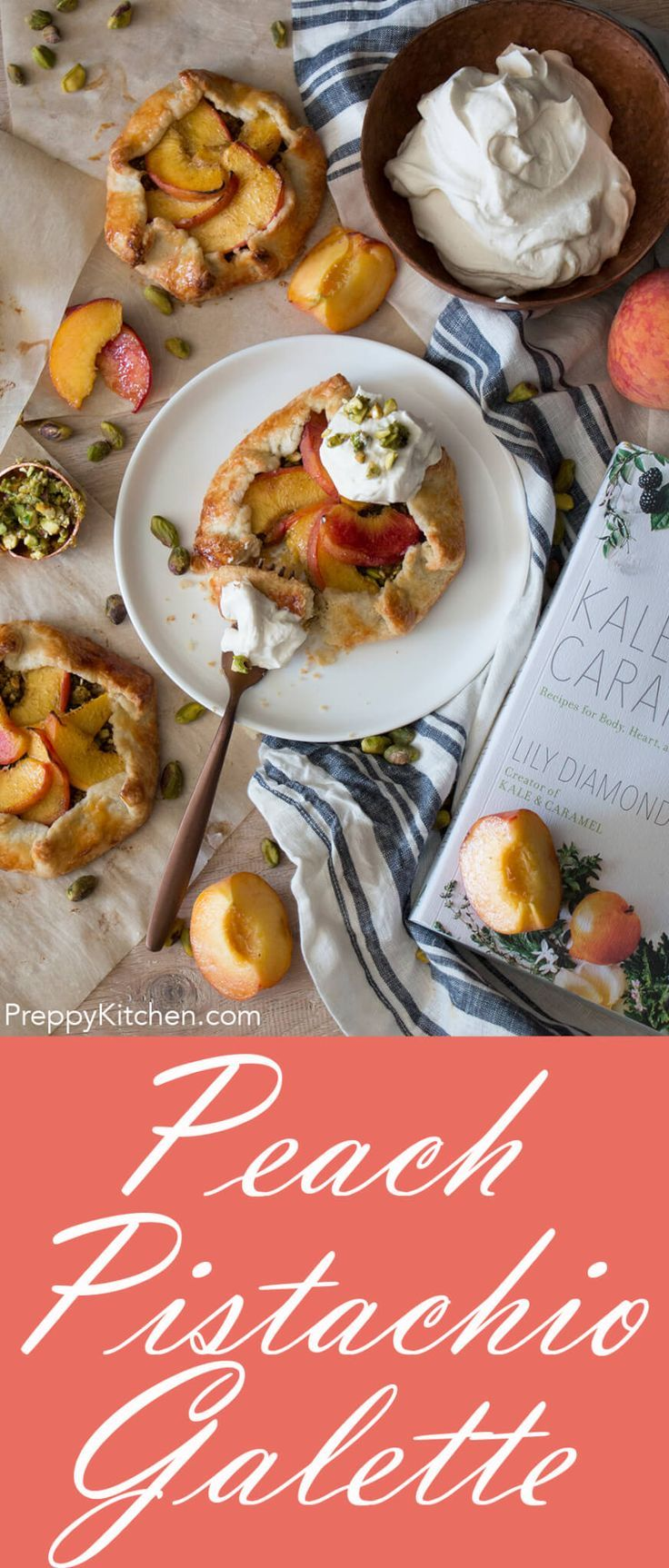 The most amazing peach and pistachio galettes with a dreamy rosewater cardamom cream. This incredible recipe is from the new cookbook by Kale & Caramel. via @preppykitchen