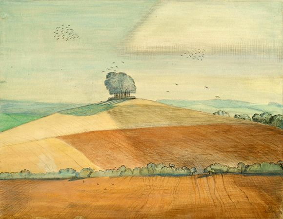 "Wittenham Clumps, 1912, Paul Nash, ""a small hill capped by a lonely clump, known as Castle Hill,""watercolour, ink and chalk on paper, England"