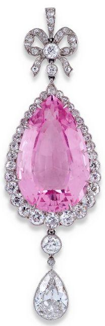 Edwardian pink beryl and diamond pear-shaped drop pendant. Via Diamonds in the Library.