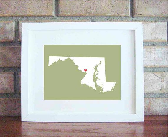 36 best maryland art and prints images on pinterest maryland general artwork diy framed print of maryland with a heart placed on baltimore solutioingenieria Images
