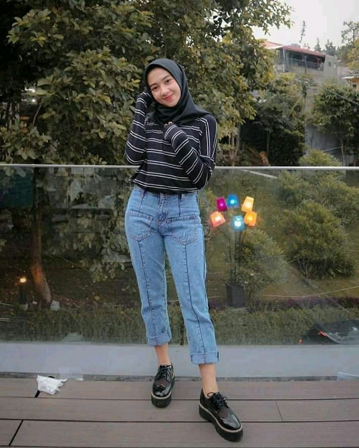 Ootd Hijab Baju Garis Gaya Berpakaian Model Pakaian Model Pakaian Remaja Wanita