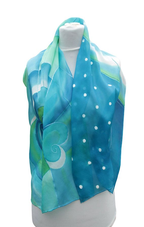 Hand painted silk scarfBluegreenturquoiseAbstract by Aryonelle