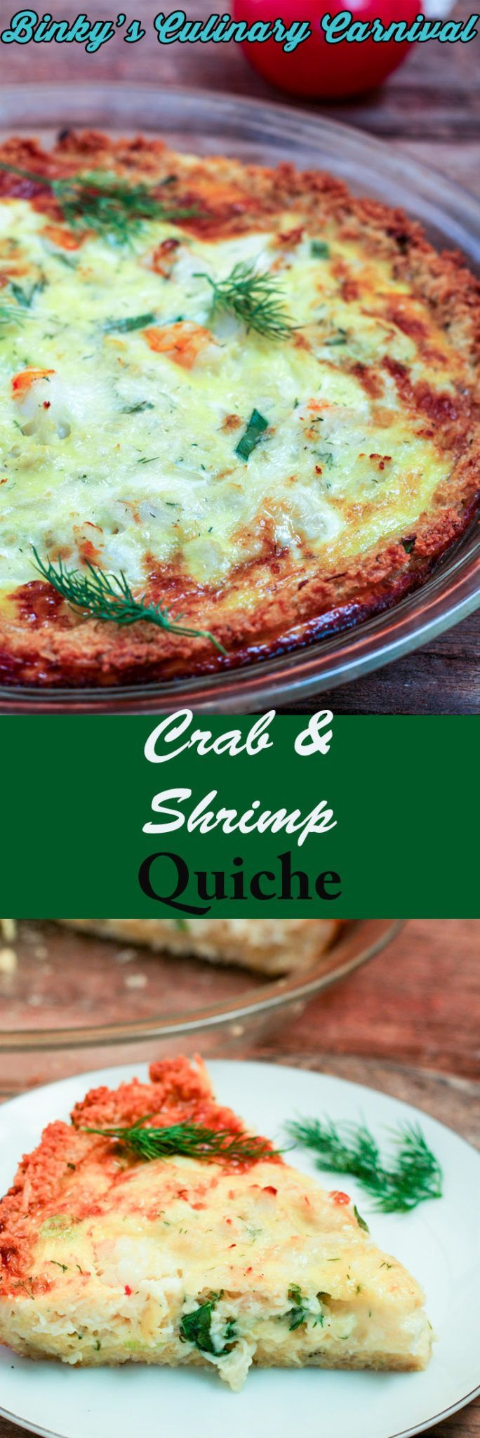 This #Crab #Shrimp #Quiche is Gluten Free! I use leftover rice for the crust, so it is fast and easy to make for any busy weeknight dinner or even a fancy brunch! #glutenfree #gf #ifbcx #binkysculinaryc via @binkysculinaryc