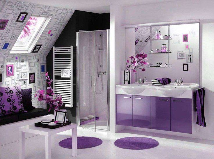 modern design bathroom with purple and white color