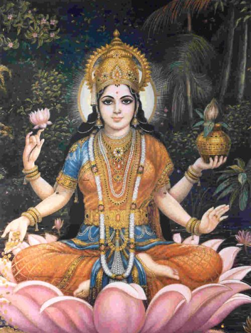 LAKSHMI is the Hindu Goddess of beauty, wealth, fertility, abundance. She is the embodiment of grace, charm and purity, and represents generosity, prosperity and material success. She is a mother goddess (meaning you can add the prefix Mata, which means mother, to her name) and the lotus blossoms she holds indicate her fertility and beauty.