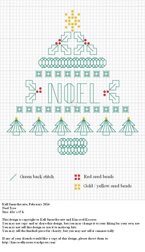 Design: Noel Tree Size: 41w x 45h Designer: Kell Smurthwaite, Kincavel Krosses Permissions: This design is copyright to Kell Smurthwaite and Kincavel Krosses You may not copy and/or share this desi...