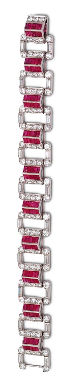 Art Deco ruby and diamond roof bracelet, by Cartier