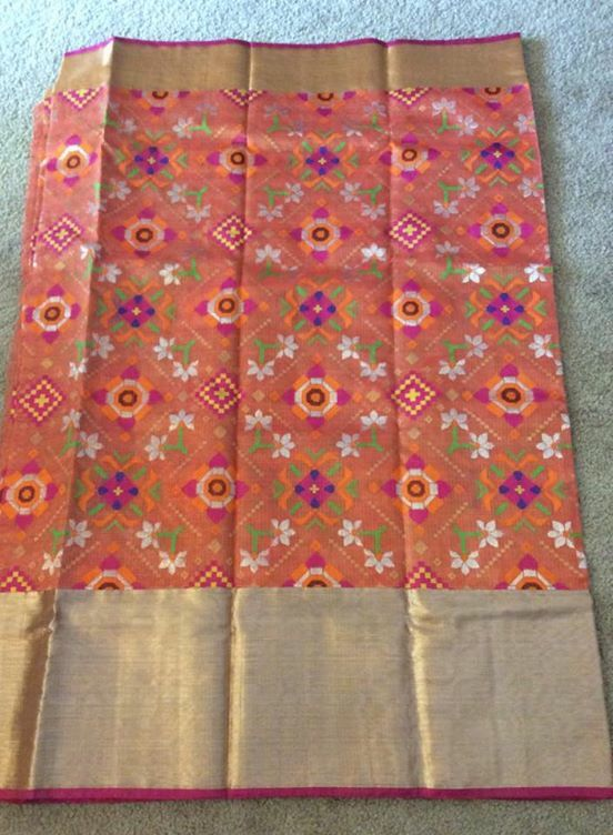 Orange pure zari tissue kota with all over thread weaving ikkath design
