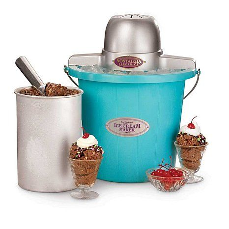 Shop Nostalgia Electrics™ 4qt Electric Ice Cream Maker - Blue, read customer reviews and more at HSN.com.