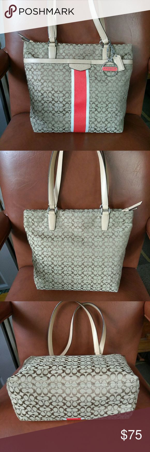 Coach Tote Bag Coach tote bag preloved in good condition no stains no tears has a little pen mark on the inside. Coach Bags Totes